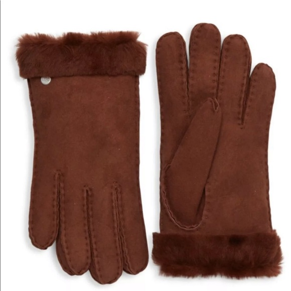 UGG Accessories - UGG WOMEN LEATHER SHEARLING GLOVES, AUBURN BROWN M